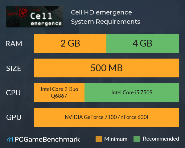 Cell HD: emergence System Requirements PC Graph - Can I Run Cell HD: emergence