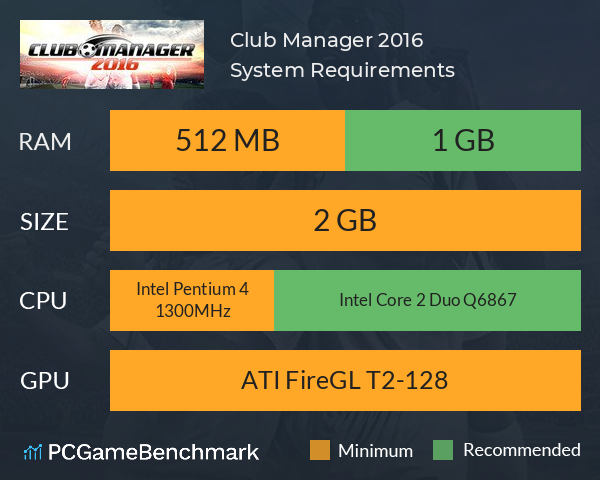 Club Manager 2016 System Requirements PC Graph - Can I Run Club Manager 2016
