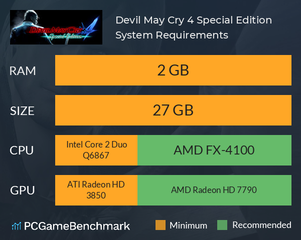 Devil May Cry 4 Special Edition System Requirements PC Graph - Can I Run Devil May Cry 4 Special Edition