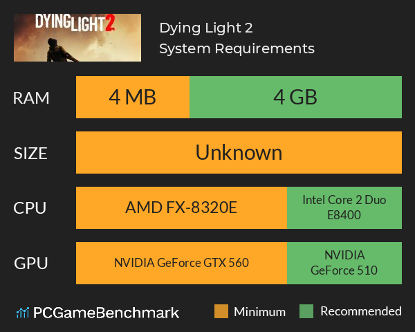 Dying Light 2 System Requirements PC Graph - Can I Run Dying Light 2