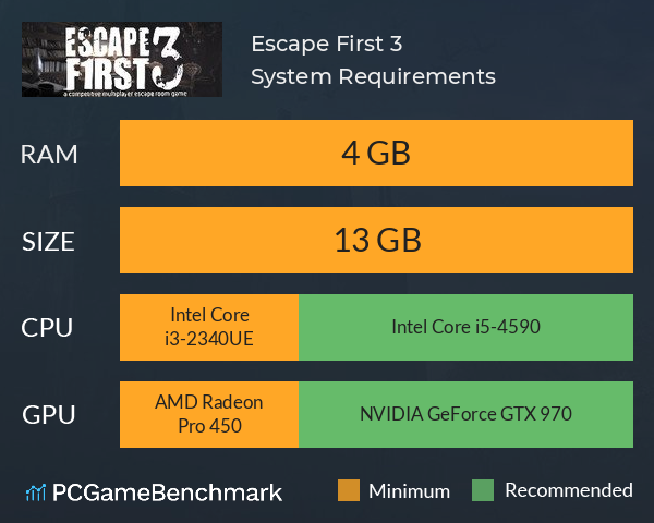 Escape First 3 System Requirements PC Graph - Can I Run Escape First 3