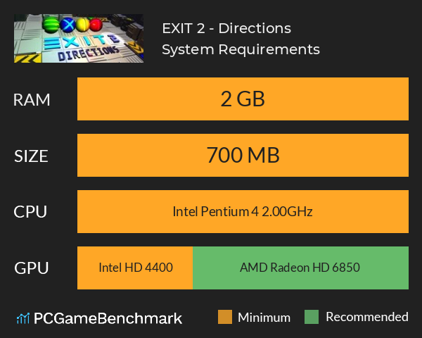 EXIT 2 - Directions System Requirements PC Graph - Can I Run EXIT 2 - Directions