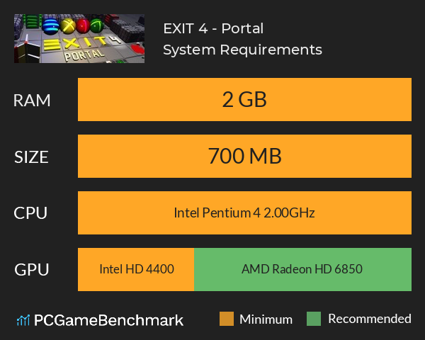 EXIT 4 - Portal System Requirements PC Graph - Can I Run EXIT 4 - Portal