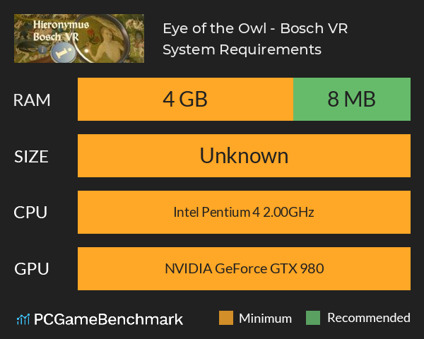 Eye of the Owl - Bosch VR System Requirements PC Graph - Can I Run Eye of the Owl - Bosch VR