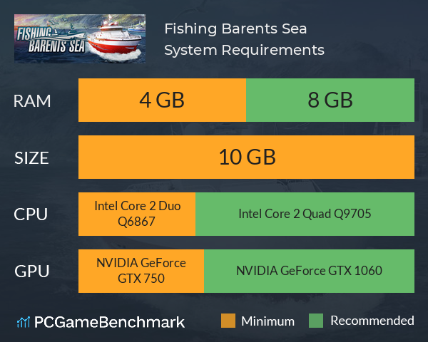 Fishing: Barents Sea System Requirements PC Graph - Can I Run Fishing: Barents Sea