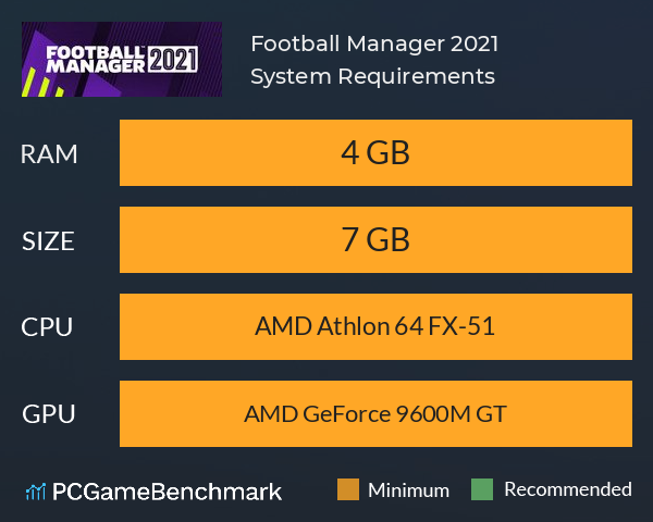 Football Manager 2021 System Requirements PC Graph - Can I Run Football Manager 2021