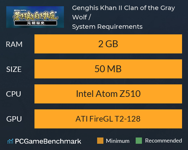 Genghis Khan II: Clan of the Gray Wolf / 蒼き狼と白き牝鹿・元朝秘史 System Requirements PC Graph - Can I Run Genghis Khan II: Clan of the Gray Wolf / 蒼き狼と白き牝鹿・元朝秘史