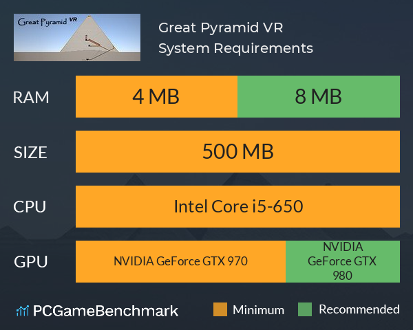 Great Pyramid VR System Requirements PC Graph - Can I Run Great Pyramid VR