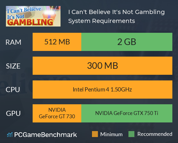 I Can't Believe It's Not Gambling System Requirements PC Graph - Can I Run I Can't Believe It's Not Gambling