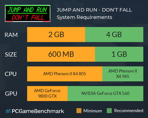 JUMP AND RUN - DON'T FALL System Requirements PC Graph - Can I Run JUMP AND RUN - DON'T FALL