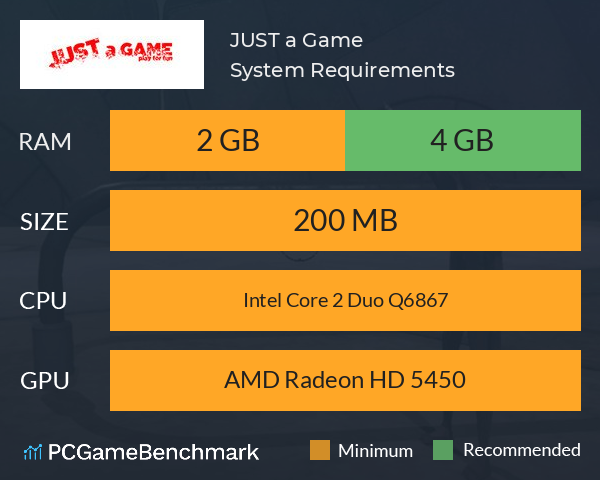 JUST a Game System Requirements PC Graph - Can I Run JUST a Game