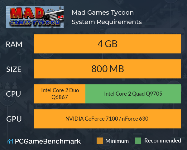 Mad Games Tycoon System Requirements PC Graph - Can I Run Mad Games Tycoon