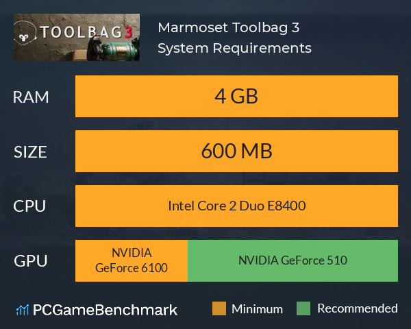 Marmoset Toolbag 3 System Requirements PC Graph - Can I Run Marmoset Toolbag 3
