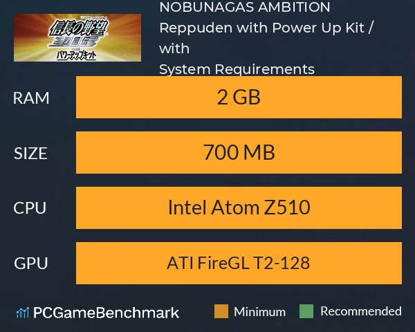 NOBUNAGA'S AMBITION: Reppuden with Power Up Kit / 信長の野望・烈風伝 with パワーアップキット System Requirements PC Graph - Can I Run NOBUNAGA'S AMBITION: Reppuden with Power Up Kit / 信長の野望・烈風伝 with パワーアップキット