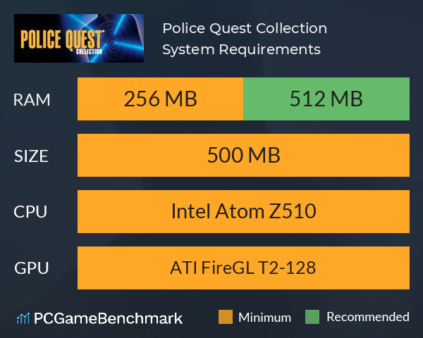 Police Quest Collection System Requirements PC Graph - Can I Run Police Quest Collection
