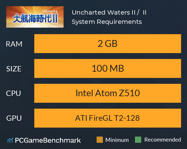 Uncharted Waters II / 大航海時代 II System Requirements PC Graph - Can I Run Uncharted Waters II / 大航海時代 II