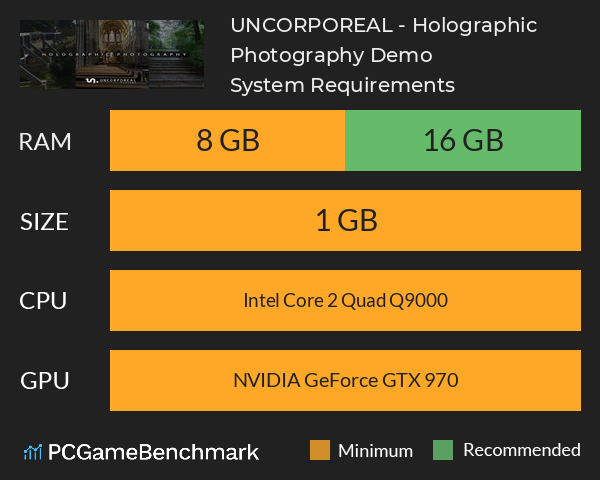 UNCORPOREAL - Holographic Photography Demo System Requirements PC Graph - Can I Run UNCORPOREAL - Holographic Photography Demo