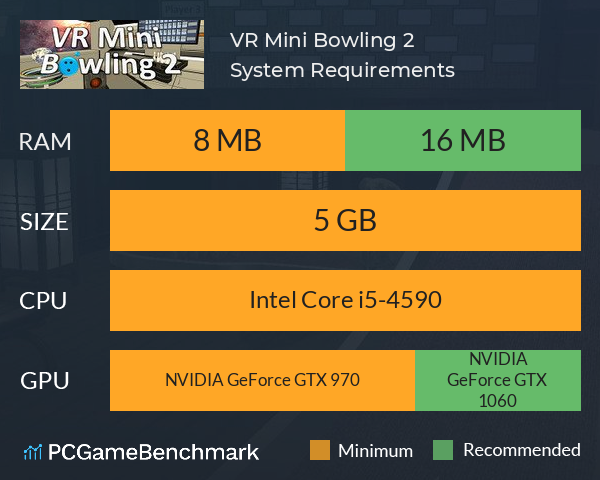 VR Mini Bowling 2 System Requirements PC Graph - Can I Run VR Mini Bowling 2