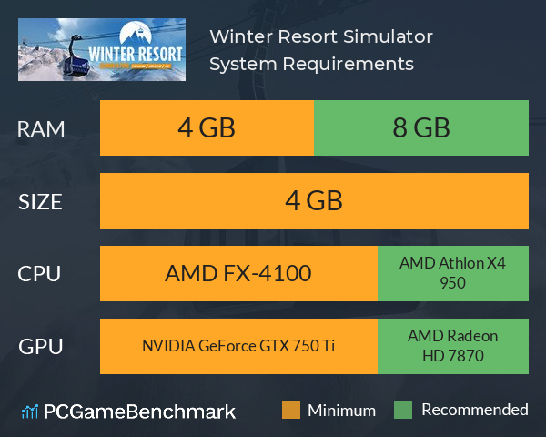 Winter Resort Simulator System Requirements PC Graph - Can I Run Winter Resort Simulator
