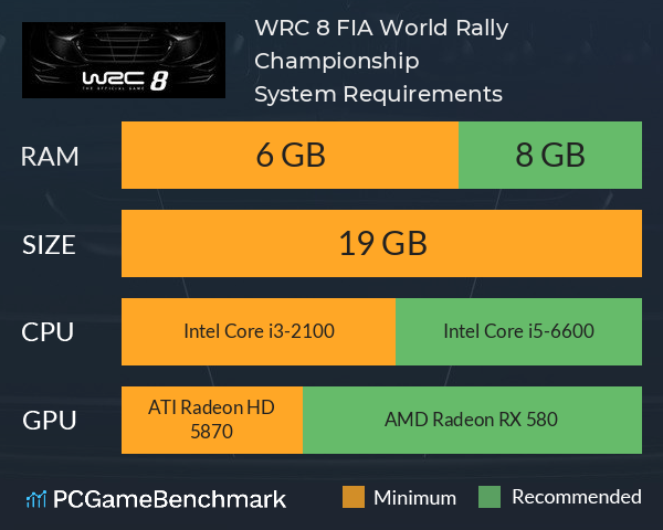 System Requirements for WRC 8 (PC)